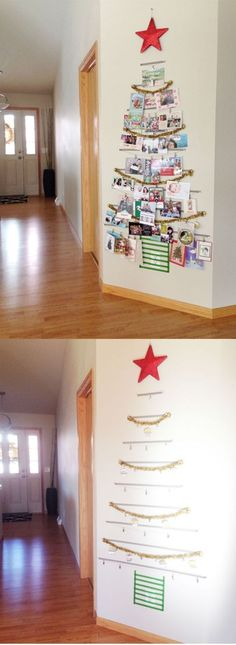 21 Free (or Cheap) Family Christmas Traditions   Create a washi-tape tree to hang holiday cards.