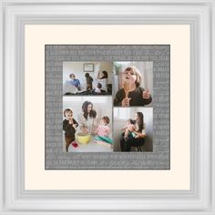 Overlap Photo Gallery of Four Framed Print, White, Classic, Black, Cream, Single piece, 12 x 12 inches