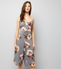 0845259fe8 Cameo Rose Light Grey Floral Print Jumpsuit