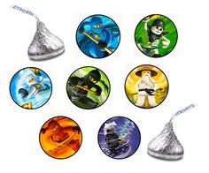 126 Assorted Hershey KISS Stickers Labels Lego Ninjago Birthday Party Favors Candy. $6.99, via Etsy.
