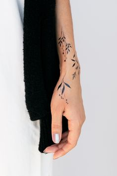 cool wrist tattoo designs and ideas for girls. cool wrist tattoo designs and ideas for girls. Botanicals by Lara Maju from Tattly Temporary Tattoos 24 Gorgeous Botanical Tattoos by Anna Botyk Cool Wrist Tattoos, Pretty Tattoos, Love Tattoos, New Tattoos, Body Art Tattoos, Temporary Tattoos, Awesome Tattoos, Vine Foot Tattoos, Back Of Forearm Tattoo