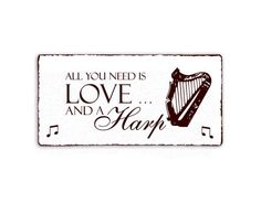 Shabby Schild Harp Harfe All you need is Love