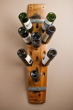 Banded 16 Bottle Wall Wine Rack by alpinewinedesign on Etsy Wine Rack Uses, Wine Barrel Crafts, Wine Barrel Furniture, Barrel Projects, Wine Rack Wall, Wine Racks, Metal Barrel, Bois Diy, Bottle Wall