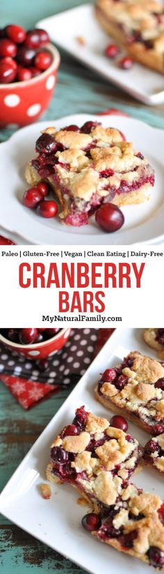 I love how the tang from the cranberries compliments the sweet crust in this Paleo cranberry bars recipe. Plus, it's easy and fun to throw together and looks so pretty and festive.