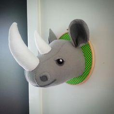 Felt faux taxidermy rhino by #cupcakecutieone #rhino #fauxtaxidermy
