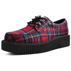 Red Tartan Anarchic Creeper ❤ liked on Polyvore featuring shoes, red shoes, creeper shoes, red plaid shoes, red tartan plaid shoes and low platform shoes