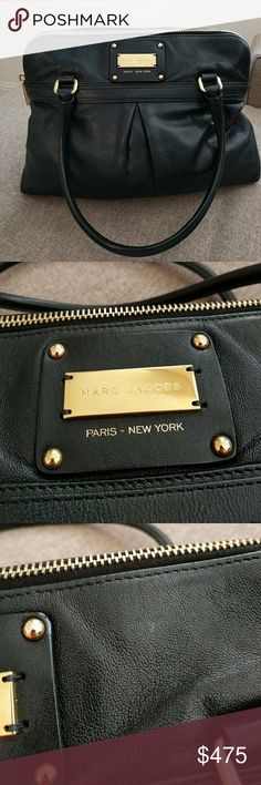 """Black Marc Jacobs Palais Royal Jen bag satchel Gorgeous bag that has not seen the light of day enough to justify sitting in my closet. Minor wear on the corners of the bag with the most noteworthy mark on the leather on the interior zip pocket. Such a classic style and large enough to hold a 13"""" laptop, even! Was purchased from Bloomingdale's and it comes with (and has been stored in) a Marc Jacobs dustbag. Marc Jacobs Bags Satchels"""
