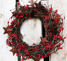 CINNAMON  STIX-Scented Primitive Fire Red Star Berry Wreath-Mini Wreath-Rustic Star Wall Hanging-Holiday Decor-Choose your Scent