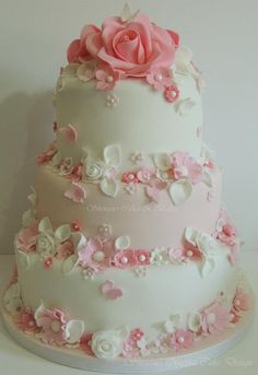 Pink And White Wedding Cake From Shereens Cakes Bakes - (cakecentral)