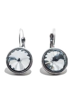 """The perfect blend of security, comfort and style, these lever back earrings add a lovely accent of sparkle to your look. Available in white and gray crystal.    Measures 3/4"""" in diameter, 1 1/4"""" drop.   Round Lever Back by Ottoman Imports. Accessories - Jewelry - Earrings Kentucky"""