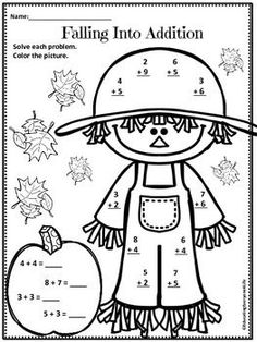 Have fun with this free fall math worksheet & coloring page Second Grade Math, First Grade Classroom, Math Classroom, Kindergarten Math, Teaching Math, Classroom Ideas, Preschool, Autumn Activities, Math Activities