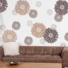 Our cool, modern Starburst Zinnia flower stencils are perfect for your next stenciling project! Floral stencil designs are perfect for accent walls and furniture stenciling. Great prices and large stencil selection! Large Wall Stencil, Stencil Wall Art, Large Stencils, Diy Wall Art, Diy Wall Decor, Wall Decals, Flower Stencils, Stencil Diy, Stenciling