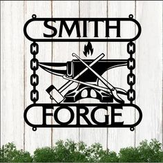 Customized Blacksmith Anvil & Hammer Text Forge Cut Metal Sign 28062102 - Cut Metal Sign - 1mm Black / Background / 18 X 18 inch