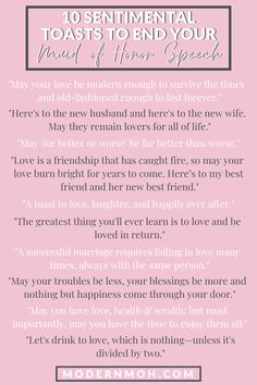 Looking for a unique way to end your maid of honor speech? Check out our 10 favorite sentimental toasts guaranteed to get glasses clinking! Best Friend Wedding Speech, Wedding Speech Quotes, Speech For Wedding, Wedding Toast Quotes, Best Man Speech, Bridesmaid Speeches, Bridesmaid Duties, Sister Wedding Speeches, Sister Wedding Quotes