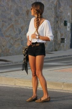white Zara shirt   dark gray bag  black Bershka shorts  light brown flats  love it