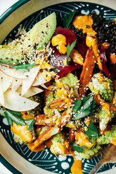 fall veg + lentil bowl with goji ginger tahini cream