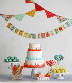 Such a cute and colorful theme and cake! It looks like rock candy on the cake?