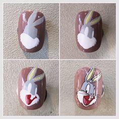 #바니네일 #캐릭터네일 Korean Nail Art, Korean Nails, Nail Art Designs Videos, Nail Designs, Hello Nails, Line Nail Art, Almond Nails Designs, Nail Art Techniques, Easter Nails
