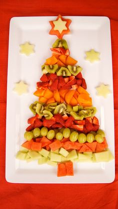 Frog, Goose and Bear: list of Fun Healthy Party Foods christmas food party Fruit Christmas Tree, Christmas Party Food, Xmas Food, Christmas Brunch, Christmas Appetizers, Christmas Breakfast, Christmas Cooking, Noel Christmas, Christmas Goodies