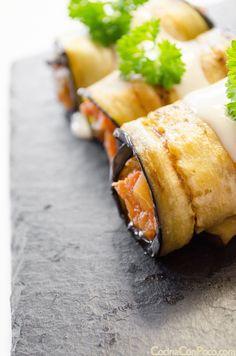Canelones de berenjena rellenos de atun y pisto - Cannelloni stuffed with tuna and eggplant ratatouille I Love Food, Good Food, Yummy Food, Vegetable Recipes, Vegetarian Recipes, Healthy Recipes, Tapas, Healthy Cooking, Cooking Recipes