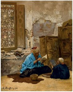 Ludwig Deutsch (Austrian, The lesson signed and dated 'L. Deutsch (lower left) oil on panel 24 x 19 in. Art Arabe, Islamic Paintings, Turkish Art, Islamic Wallpaper, Arabic Art, Ludwig, Kandinsky, Matisse, Islamic Art