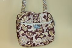 Quilted green and brown paisley cross body purse by Chrispurses on Etsy