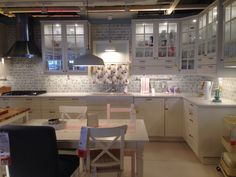 Bodbyn @ikea. Off white but on its own just looks white white. Gorgeous. London Gray Quartz counters. In love!