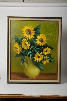 Rosengard Ruth Sunflowers Still Life Oil Painting Still Life Oil Painting, Art Auction, Oil Paintings, Sunflowers, Calla Lilies, Flowers, Oil On Canvas, Sunflower Seeds, Art Oil
