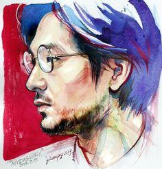 美しい横顔にたまらず、水彩で描きました。今日の松田龍平さん。 #あまちゃん #あま絵