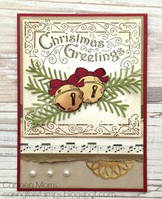 Father Christmas Stamp Set by Carmen Morris,  Combined sets Father Christmas and Christmas Magic and added dies from Pretty Pines Thinlits. The bells are stamped on Gold Foil with Stazon.
