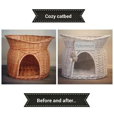Cat bed DIY. Painted white Diy Cat Bed, Diy Bed, Projects To Try, Cozy, Homemade, Crafts, Painting, Home Decor, Manualidades