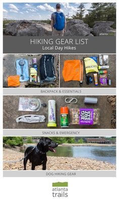 Hiking gear list for local day hikes. Everything you should brig with you on your next day hike to stay hydrated, safe, and comfortable the whole day. // Hiking tips Dog Hiking Gear, Hiking Tips, Hiking Backpack, Hiking Shoes, Hiking Gear Women, Women Camping, Camping Car, Camping And Hiking, Outdoor Camping