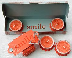 Smile Box with Four Decorated Tea Lights by UK based Stampin' Up! Demonstrator Bekka Prideaux - book a class for you and your friends to lea...