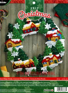 Bucilla Snow Village Wreath ~ Felt Christmas Home Decor Kit #86686, Church Trees