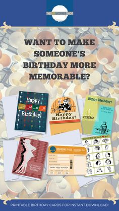 Pretty and practical printables that work for you! Birthday Cards For Friends, Happy Birthday, Different Types Of People, Folded Cards, Blank Cards, Etsy Seller, How To Memorize Things, Printables, Handmade Gifts