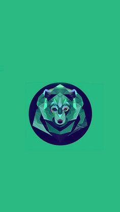 Bear Polygon Art Animal Green #iPhone #5s #wallpaper