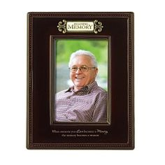 Brown Ceramic In Loving Memory Photograph Frame For 4 X 6 Inch Vertical Photo