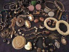 LARGE COSTUME JEWELRY LOT VINTAGE NOW WEAR SIGNED STERLING SILVER #5