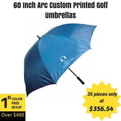 Guard your brand name over these large custom printed 60 inch arc golf umbrellas! #freeproof within 24 hours !  #customprinted #golf #logo #freesetup #cheapumbrellas