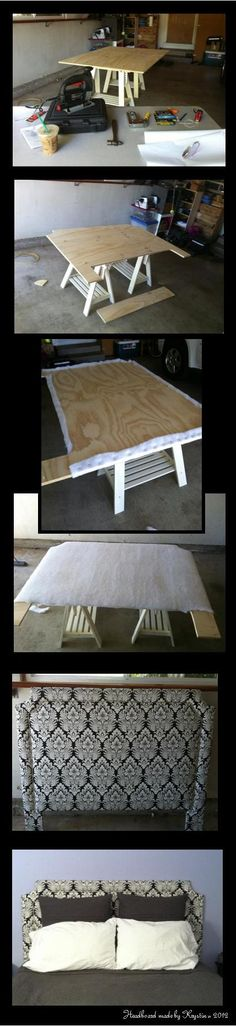 """DIY Upholstered Headboard with Nailhead Trim.  Tools/supplies: Jigsaw, staple gun, scissors, sewing machine, iron, two sawhorses, drill, pencil and string, hammer/mallet, bolts to attach to the frame, 3/4"""" plywood, fabric, muslin, batting, spray adhesive, and nailhead trim... oh, and Starbucks! And once you make a beautiful headboard you'll realize it's time for new pillows!! lol"""