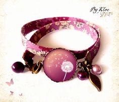 Bracelet ruban Liberty Cabochon • Dandelion • pissenlit prune beig