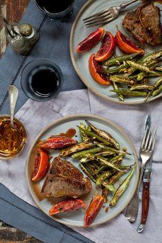 Lamb Chops, Blood Orange Sauce & Roasted Okra