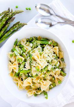Enjoy a refreshing pasta salad bowl for lunch that's loaded with tender asparagus and peas. This pasta bowl has kicked-up flavor from a combination of lemon, feta and dill. For a vegan-friendly version, substitute the butter with olive oil, and omit the feta cheese. Photo Credit: Demi Tsasis
