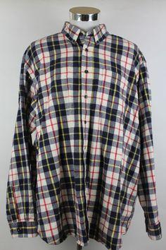 LL Bean Button Front Shirt Plaid Outdoor Lumberjack Mens size 2XL 100% Cotton #LLBean #ButtonFront