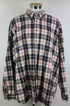 LL Bean Button Front Shirt Plaid Outdoor Lumberjack Mens size 2XL 100% Cotton #LLBean #ButtonFront