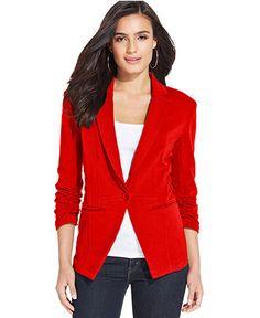 Style&co. Ruched-Sleeve Single-Button Blazer - Blazers - Women - Macy's