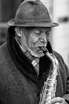 Busking Saxophonist