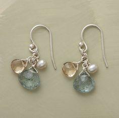 samba earrings - yellow citrines, white pearls and aquamarine