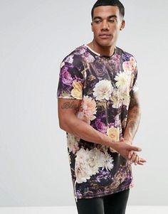 Camiseta larga con estampado floral de SikSilk