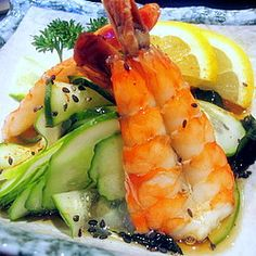 Marinated Cucumber and Shrimp Salad. One of the amazing creations of Sushi-Man Ryo Yoshioka, our favorite sushi chef. May he rest in peace!